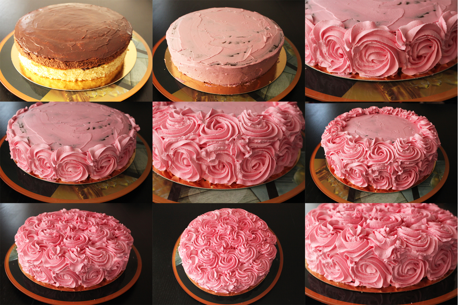 G teau damier vanille chocolat fa on rose cake for Decoration avec des roses
